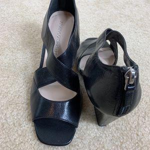 Franco Sarto Tandy Black Leather Wedge Sandals.